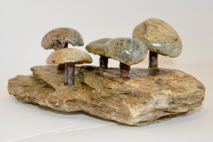 Soapstone mushrooms attached to stone base
